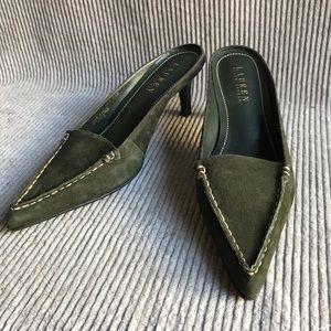 Ralph Lauren olive green suede leather slipon mule